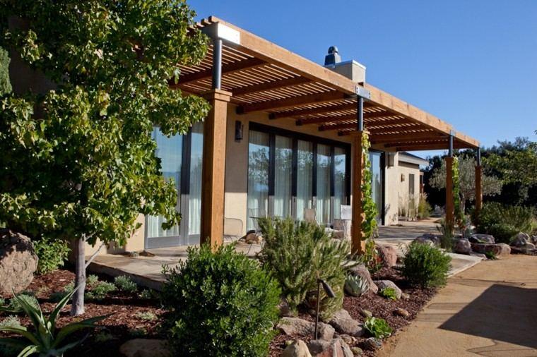 pérgola jardín patio madera recta