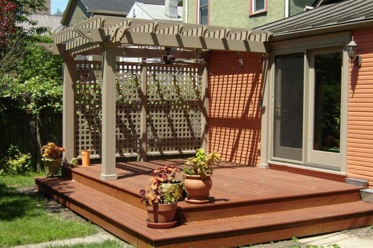 pérgola jardín porche estructura escalones