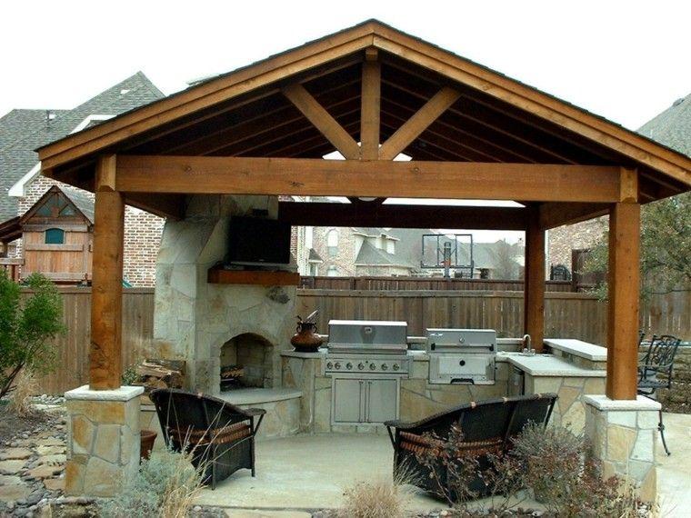 pérgola madera cocina chimenea jardín