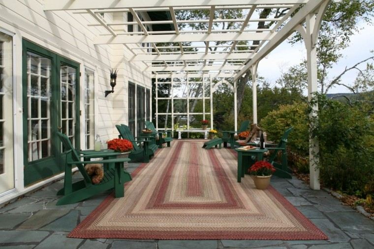pergola metal jardin rejas color blanco