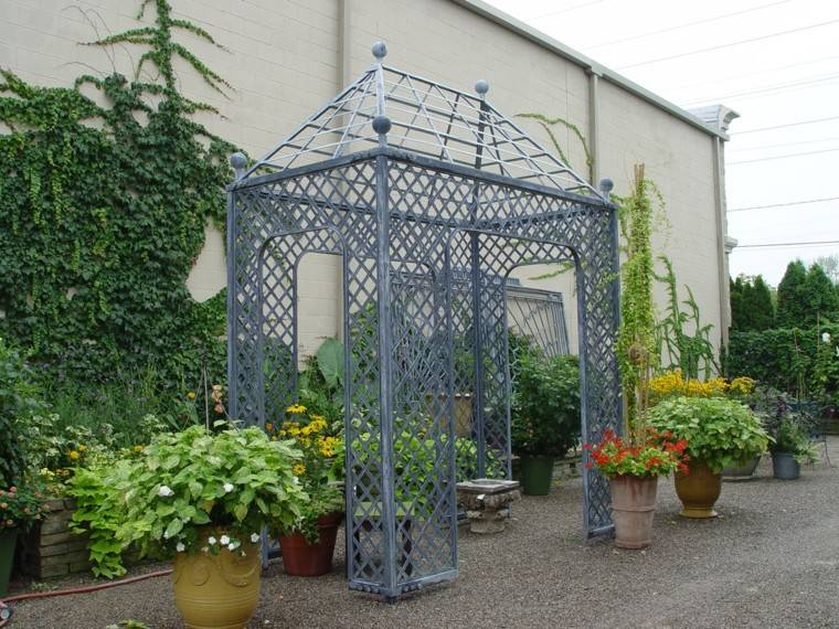 pergola metal rejas color gris