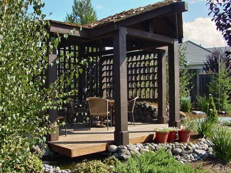 pergola porche madera tejado plataforma