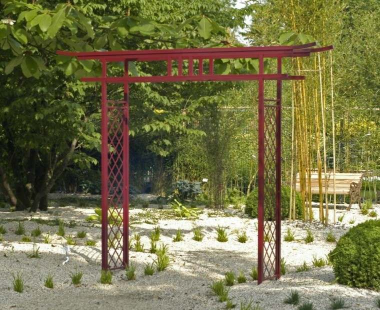 pergola roja metal patio oriental