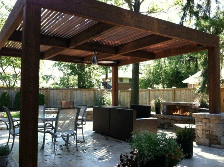 pergolas jardin estilo moderno madera