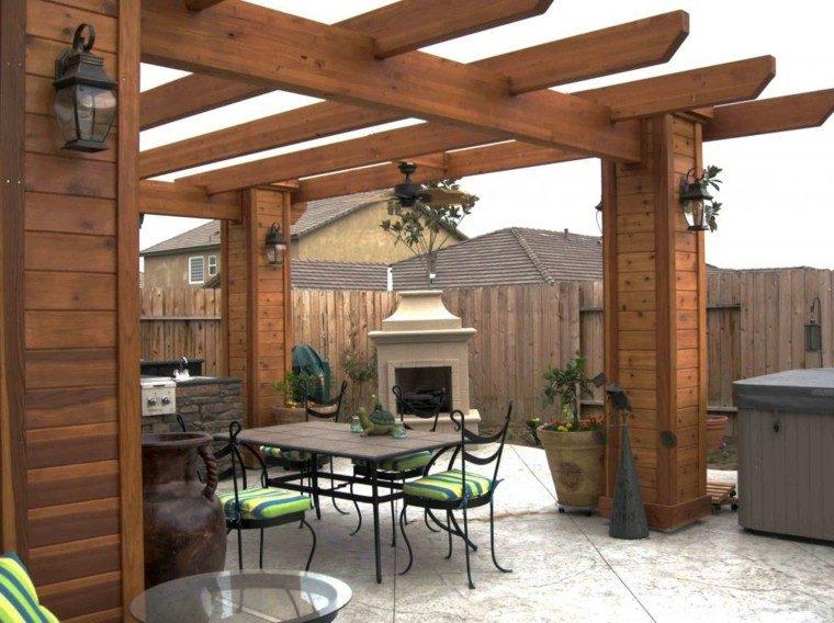 pergolas jardin madera teca chimenea
