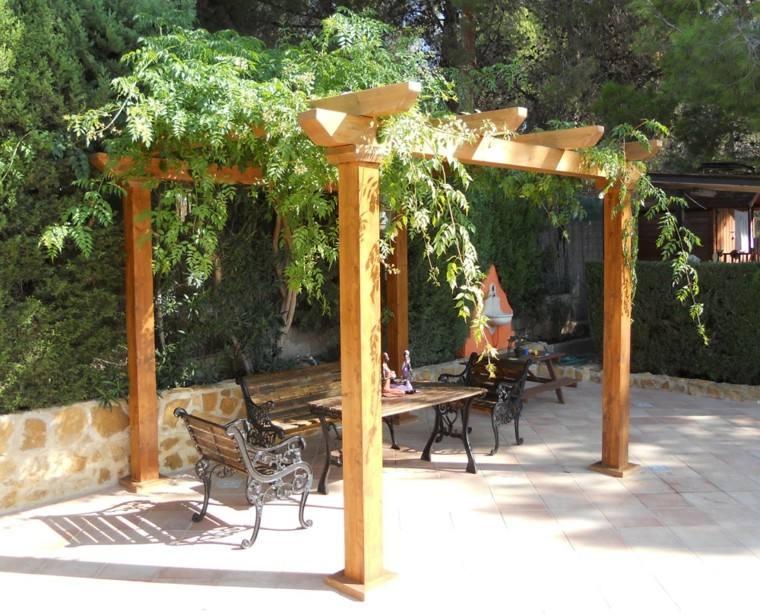 pergolas jardin madera plantas - Pergola De Madera