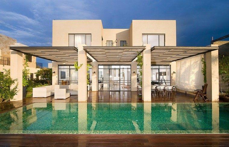 pergolas porches arquitectura piscina moderna