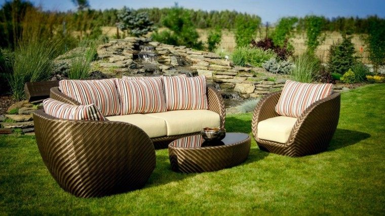 piedras plantas cesped muebles diseno moderno bonitos