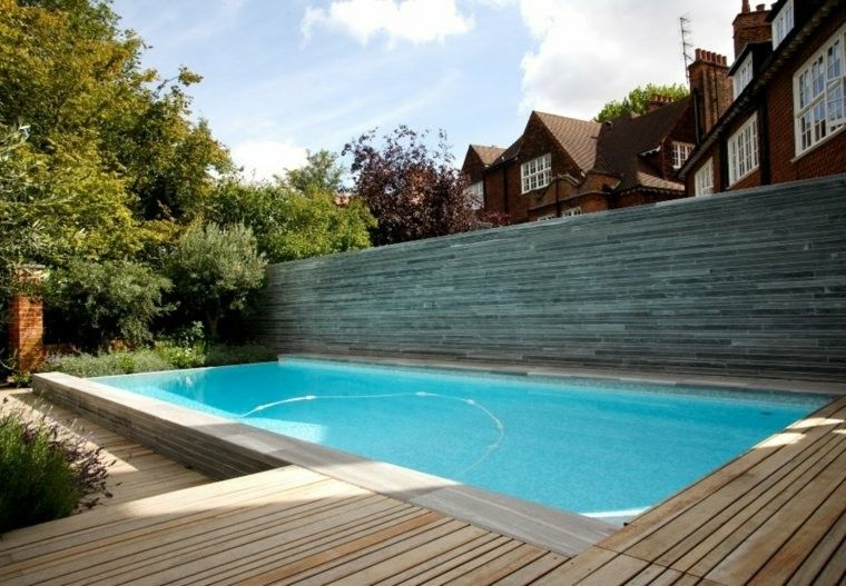 piscina casas muro madera rocas