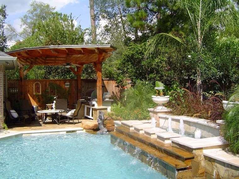 piscinas diseno muebles caida agua ideas modernas