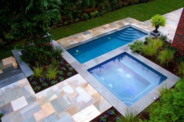 Una piscina peque a en el patio trasero un gran capricho - Jardines con piscinas ...