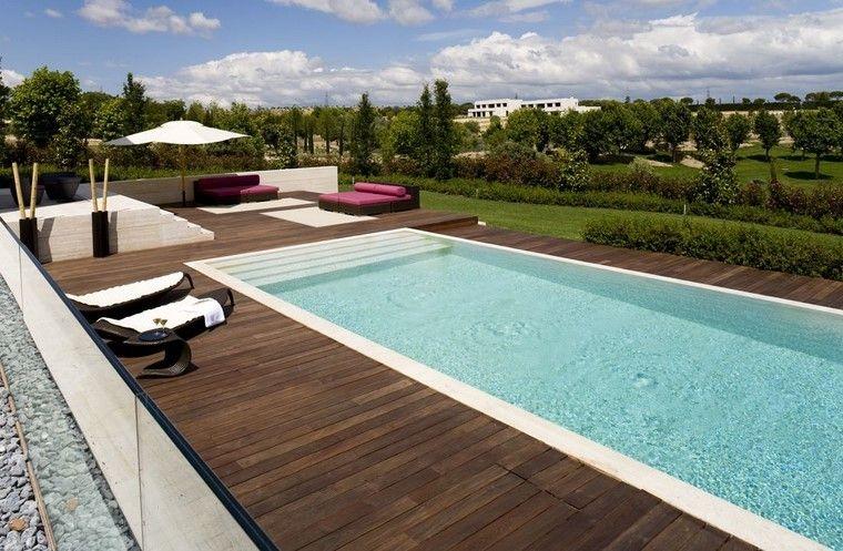 piscinas muebles grande tumbonas espacios distintos ideas