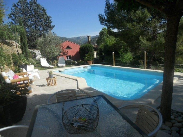 piscinas para jardín pinos rocas sillas