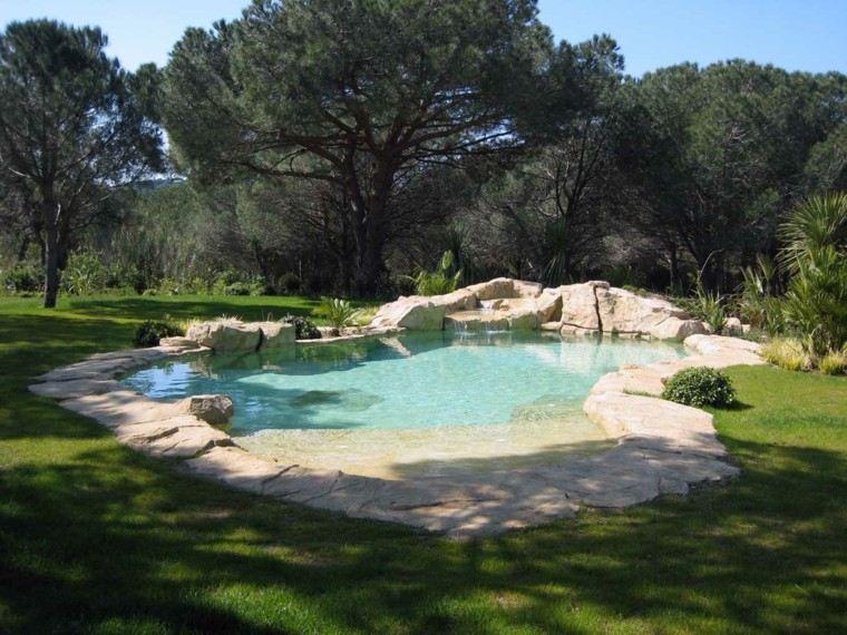 piscinas para jardín rocas cesped exterior arboles