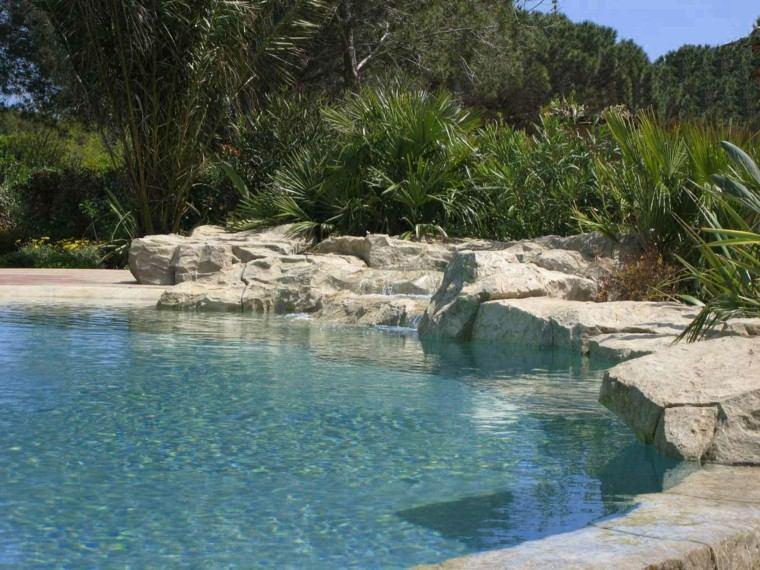 piscinas para jardín rocas pinos palmeras