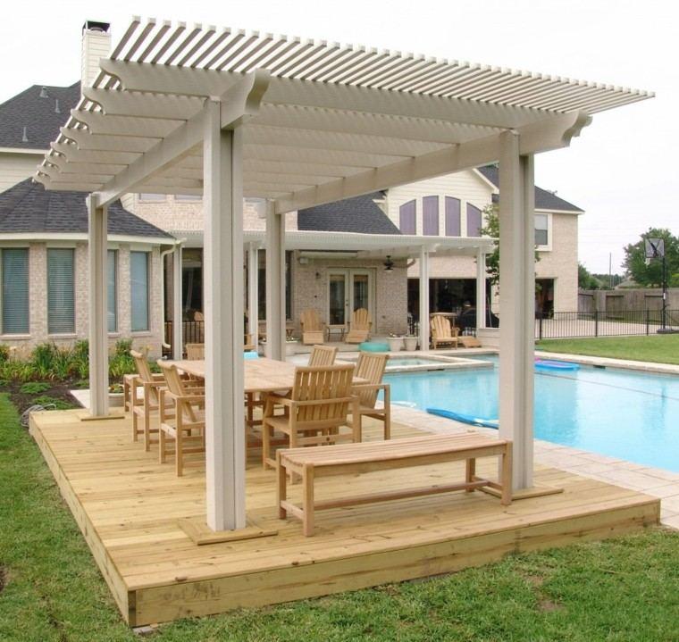 piscinas y pérgolas de madera banca casa plataforma