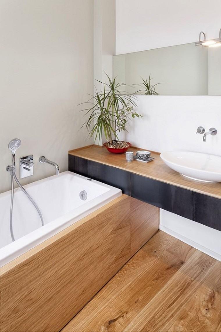 piso bañera plantas lavabo suelo natural