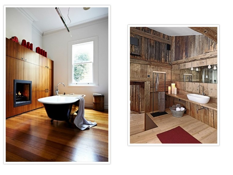 Cuarto de ba o madera calidez y confort en casa for Combinaciones de pisos para casas