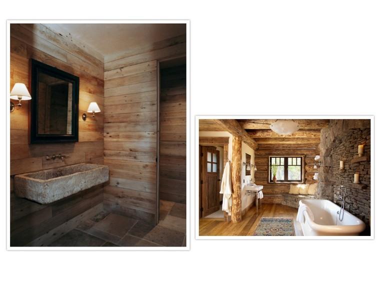 piso rustico lamparas roca bañera calido