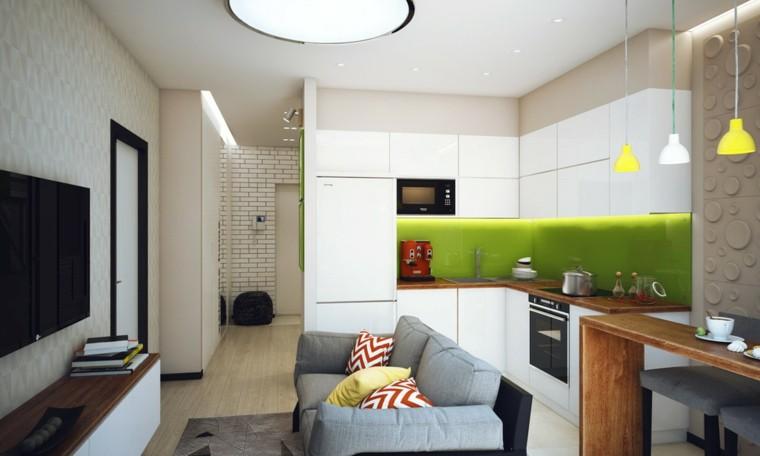 piso soltero cocina pared verde