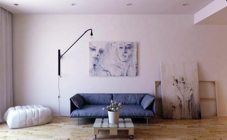 piso soltero cuadros lila sofa