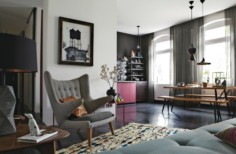 piso soltero ideas colores oscuros abierto suelo madera moderno