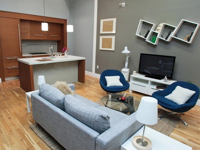 Pisos de solteros ideas para decorar tu nuevo hogar for Sala gris con azul