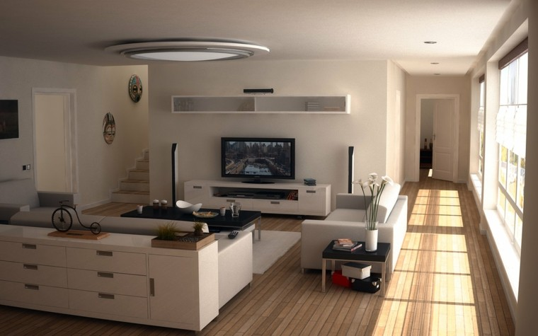 pisos soltero ideas muebles blancos luminoso moderno