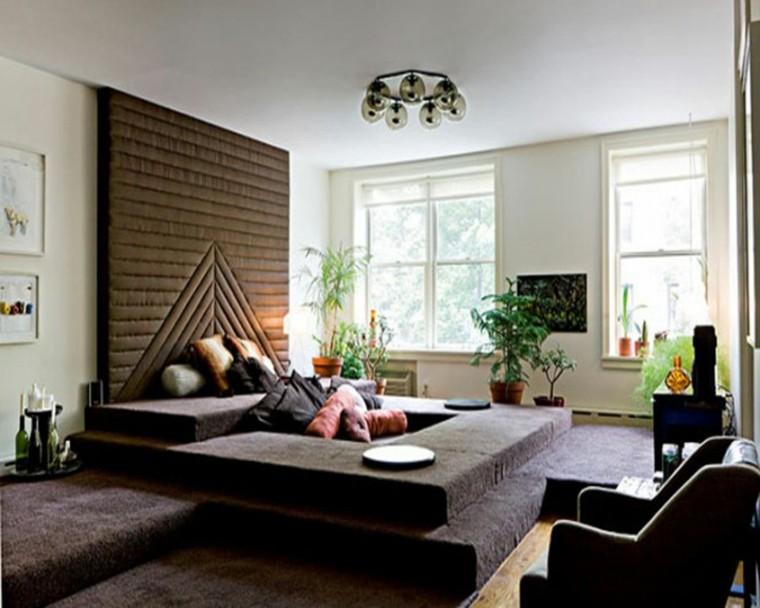 pisos soltero ideas originales colores oscuros cabecero