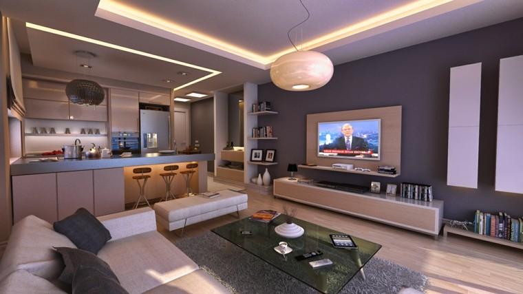 pisos soltero plano abierto cocina barra ideas