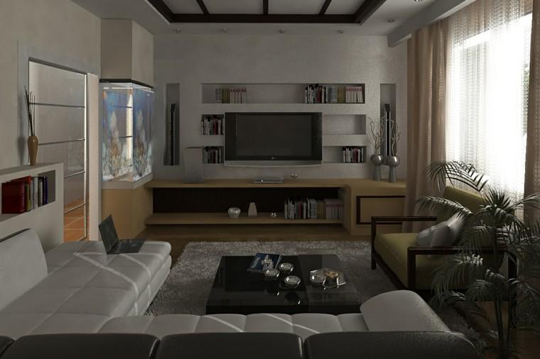 pisos soltero salon televisor grande muebles comodos modernos