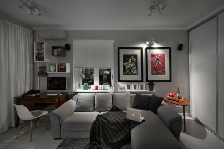 pisos solteros ideas compactas sofa comodo escritorio moderno