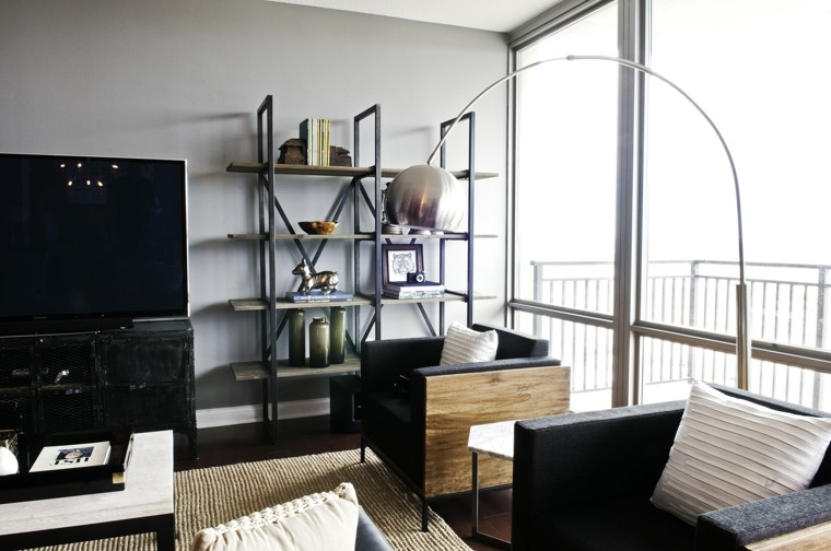 pisos solteros ideas estanterias muebles madera modernos
