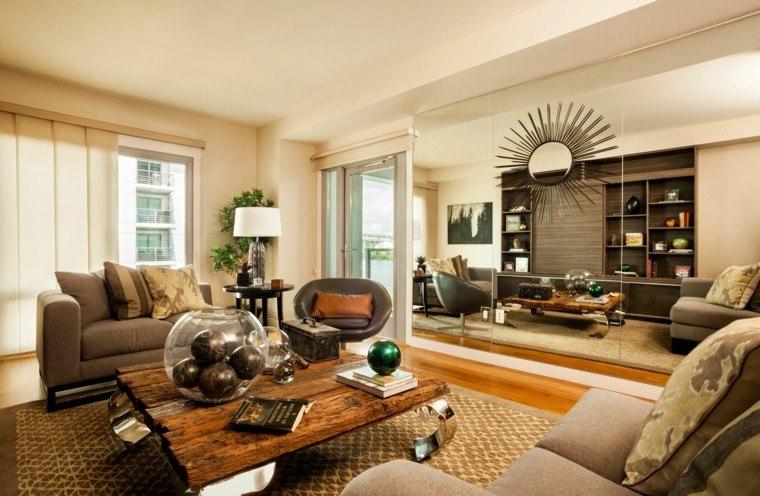 pisos solteros mesa madera moderno ideas amplio