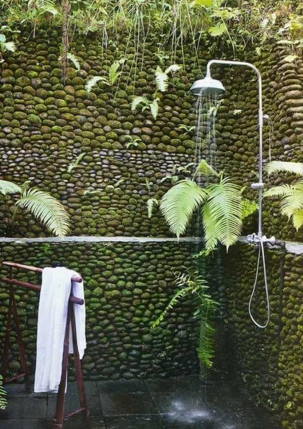 platos de duchas pared piedra