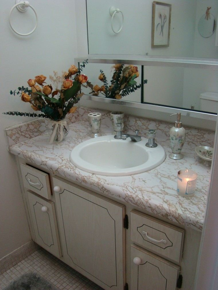porcelana baño decoracion idea floral