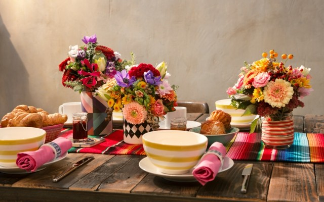 la primavera porche mesa tres ideas colores bonitos ramos