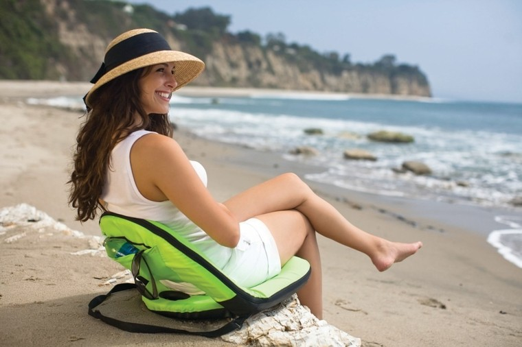 portable simple verde silla playa ligera