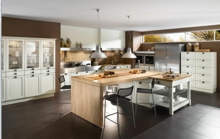 practicas cocinas grandes mucho espacio guardar cosas madera