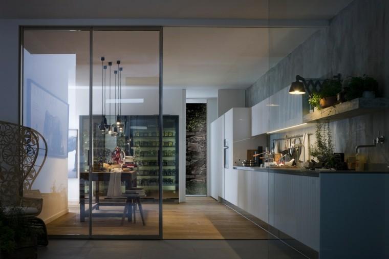 prácticas funcionales cocinas nevera grande puertas cristal ideas
