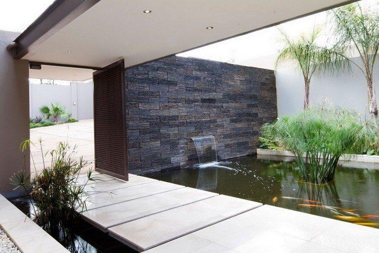 Jardin y decoracion estanques elegantes y funcionales - Fuentes de pared modernas ...