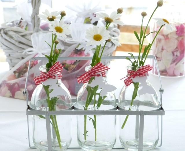 ramo de flores primavera botellas bricolage cristal
