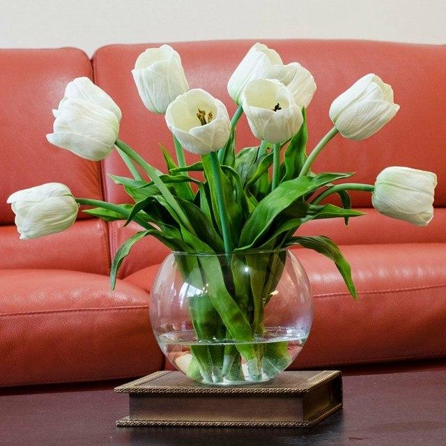 ramos de flores tulipanes blancos cristal moderno