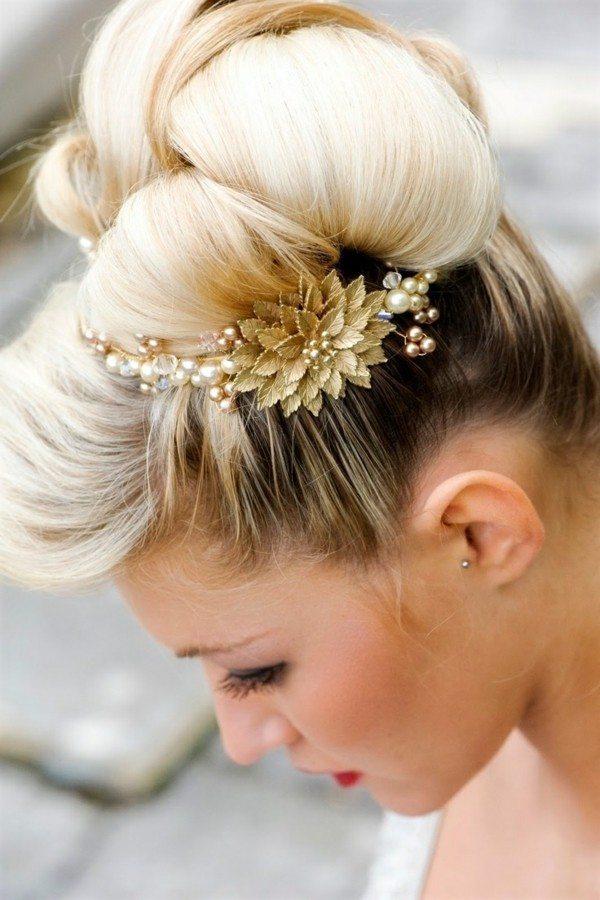 recogido novia flor dorada lateral