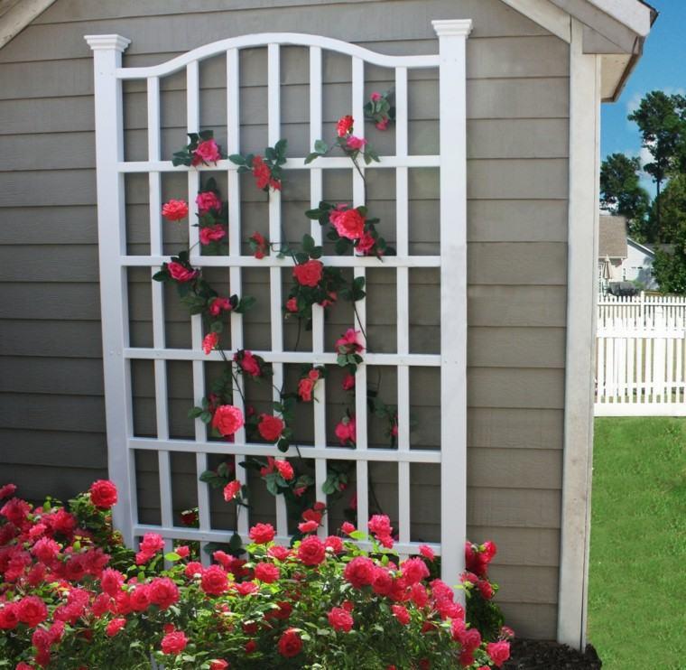 reja blanca para rosal bonita