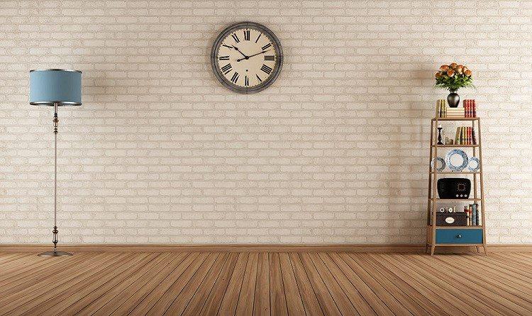 reloj estante minimalista flores lampara