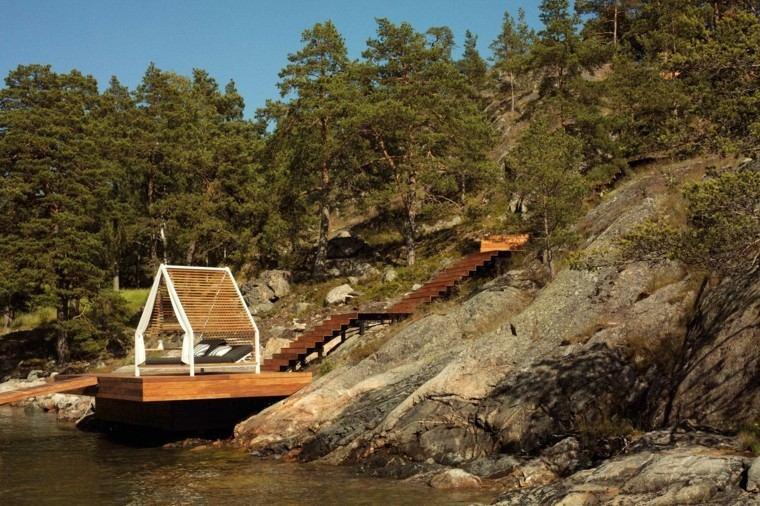 rio relajacion montaña madera pabellon