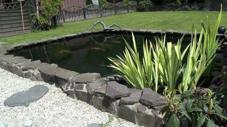 rocas plantas estanque cercado diseño