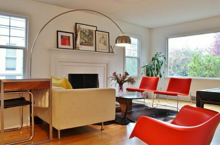 rojo sofa lampara cuadros madera