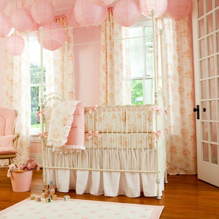 rosa cuarto sabanas metal esferas